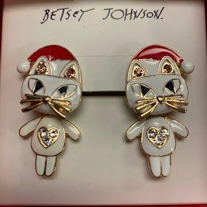 Betsey Johnson Christmas cat earrings